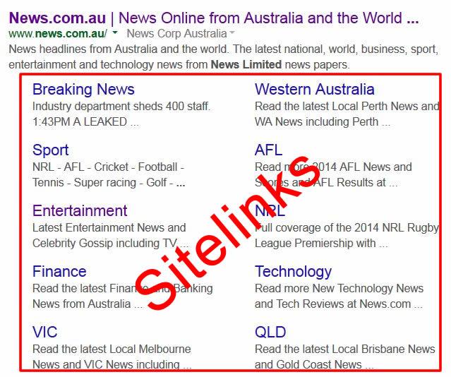 Sitelinks Google SERPs News.com.au