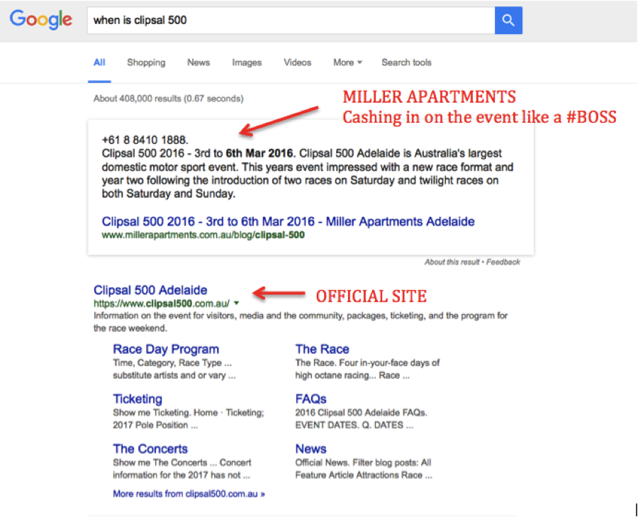 ok google voice search optimization example when is clipsal 500