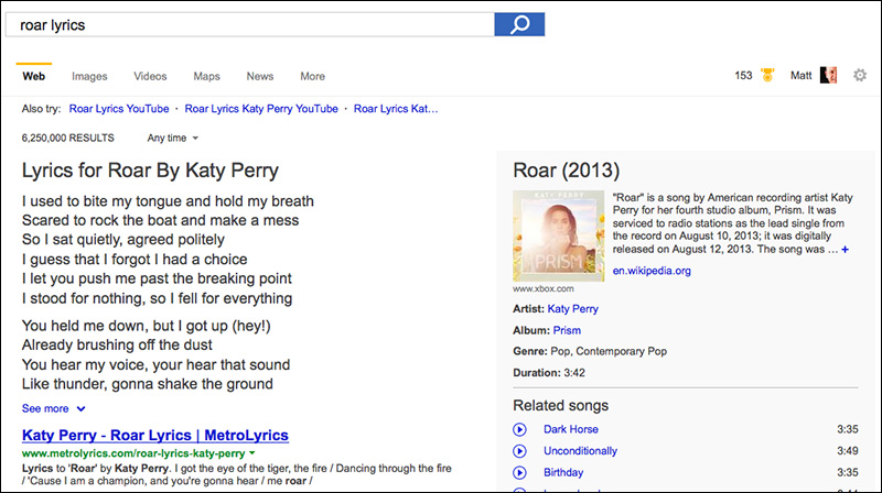roar lyrics katy perry on bing search engine