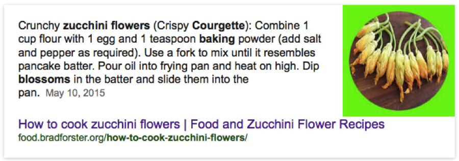 ok google voice search optimization example how to cook zucchini flowers